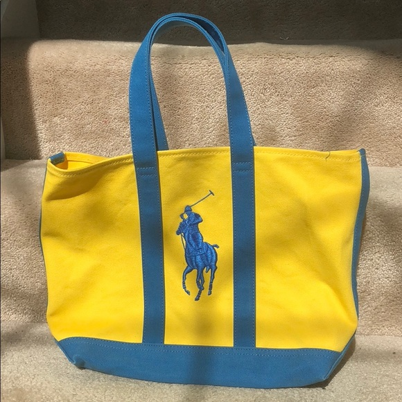 Polo by Ralph Lauren Bags   Yellow And Blue Polo Ralph Lauren Tote ... f12e82c175